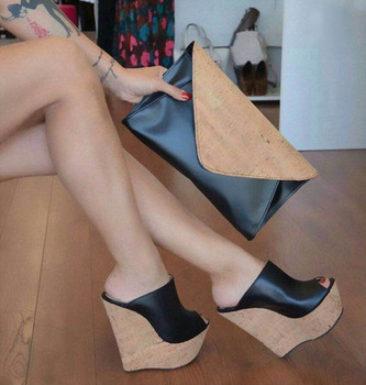 2020 New Summer Women Platform Mules Sandals Sexy Wedges High Heels Sandals Open Toe Elegant Black Party Shoes Women Plus Size women heels sandals sexy plus size 43 high quality laser reflective high heels platform for women occupation open toe heels