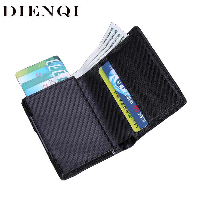 DIENQI Rfid High Quality Men Wallets Small Thin Trifold Leather Wallet Male Money Bag 2019 Vallet Black Coin Purse Drop Shipping