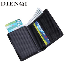 DIENQI Rfid High Quality Men Wallets Small Thin Trifold Leather