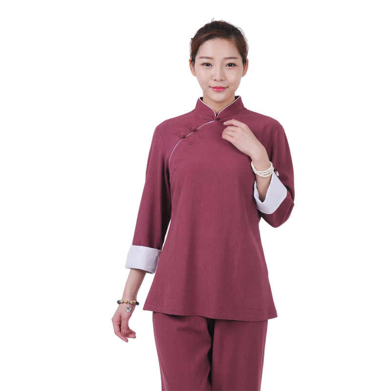 Tai chi Uniform women linen gray&wine red color High Quality Wushu Kung fu Clothing femme Wing Chun Suit Yoga clothing set