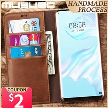 Musubo Genuine Leather Case For Huawei P30 Pro Luxury Wallet Fitted Flip Cases Cover Fundas For HUAWEI P30 Coque Capa Magnet