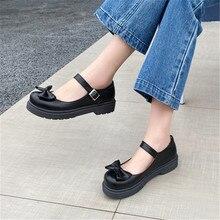 Zapatos de tacón bajo gruesos Vintage para niñas con nudo mariposa y tacones bajos para estudiantes de estilo informal