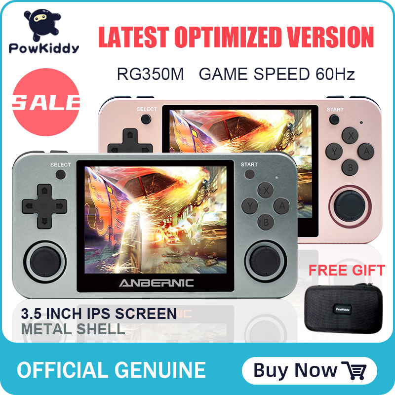 Powkiddy RG350M handheld game console 3D new games metal shell console open...