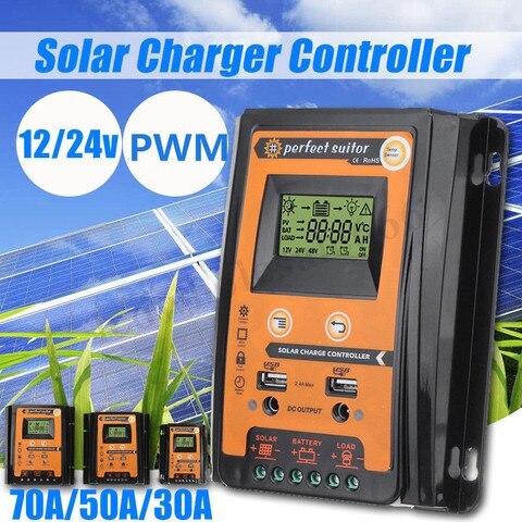 30a 50a 70a 12 v 24 v painel solar inteligente controlador de carga da bateria
