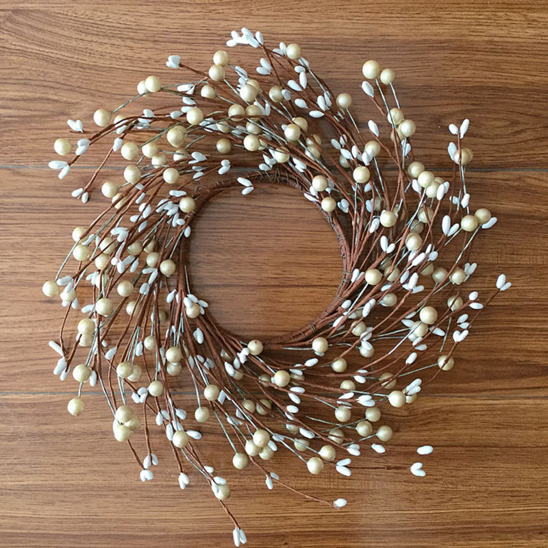 ELEG-Artificial Primitive White Pearl Berry Pip Berry Wreath Christmas Door Wall Decoration Wreath