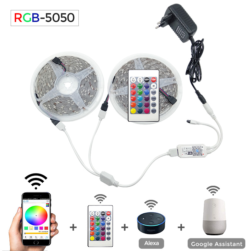 5050 Светодиодная лента wifi RGB RGBW RGBWW 5 м 10 м 15 м RGB светодиодный сменный гибкий светодиодный светильник + wifi Пульт дистанционного управления + Мощ...