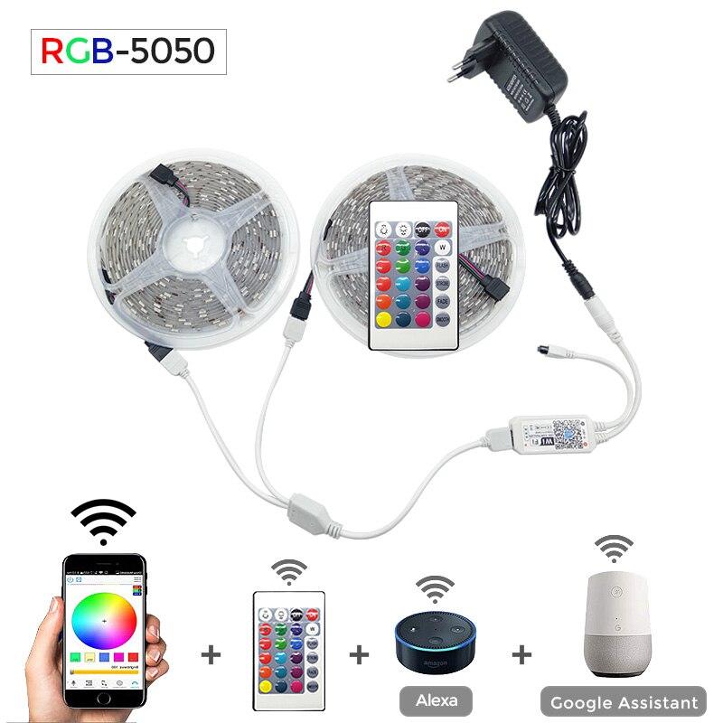 Bandes lumineuses à bande de LED, WIFI 5050 RGB RGBW RGBWW 5M 10M 15M RGB, bande lumineuse à bande de LED Flexible changeante + WIFI télécommande + alimentation