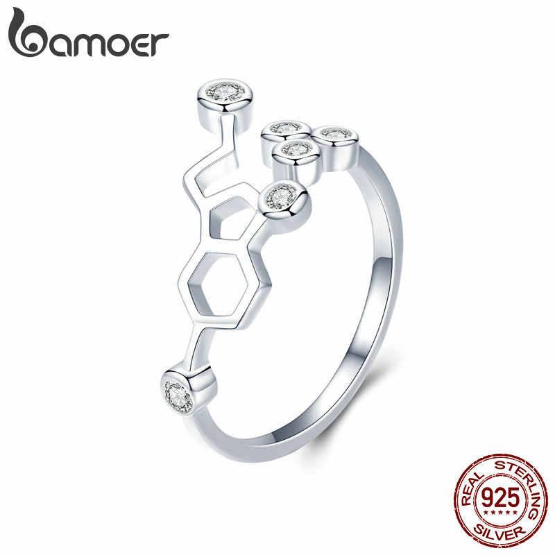 BAMOER Plata de Ley 925 auténtica anillo de panal de abeja anillos de dedo ajustables para mujer anillo de CZ transparente joyería de compromiso de boda Anel SCR433