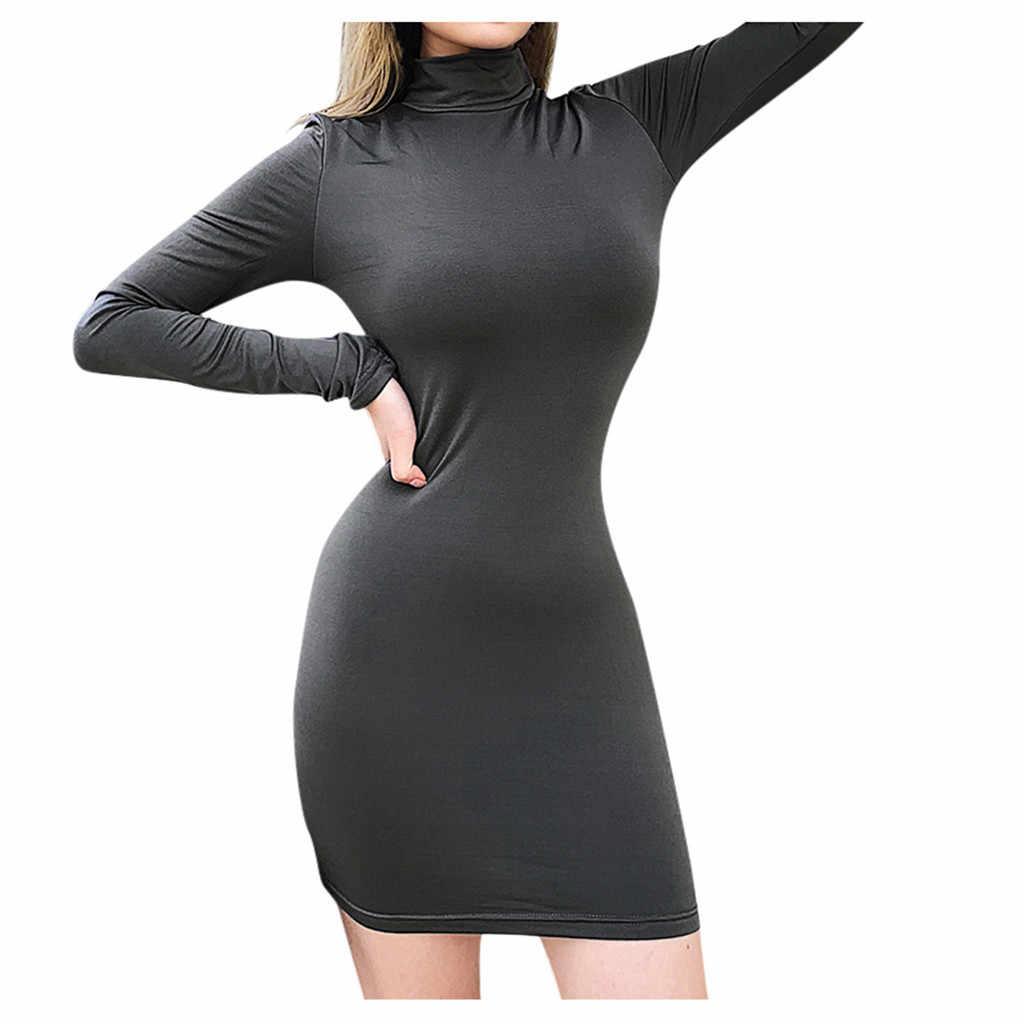 فساتين للنساء sukienki بمقاسات كبيرة فستان كاجول مثير بلون سادة وأكمام طويلة للحفلات الليلية فساتين