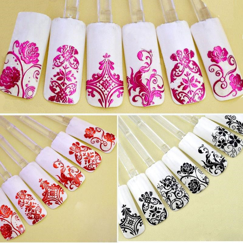 Fashion Large Sheet Metal Sticker Paper Flower Stickers Metal Sticker Flower Vine Large Sheet 3D Nail Sticker Ultra-Thin Nail St
