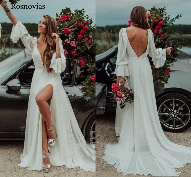 Boho Wedding Dresses 2020 With Long Flare Sleeves V Neck Open Backless Court Sweep Beach Bridal Gowns Vestido De Noiva Custom