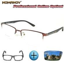 Custom Made Prescription Glasses Optical Photochromic Myopia Reading Half-rim Alloy Tr90 Brown Frame Men Women