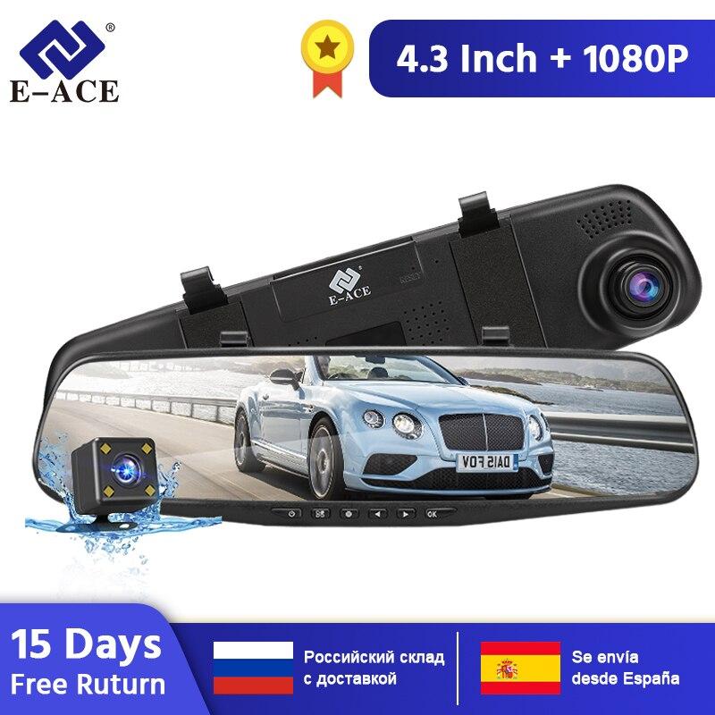 E-ACE voiture Dvr caméra FHD 1080P Dash Cam 4.3 pouces rétroviseur vidéo enregistreur avec vue arrière caméra caméscope Auto registraire