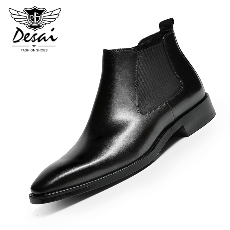 DESAI Martin Boots Men Genuine Leather Business Dress Shoe Chelsea Cowhide British Style 2019 Autumn Winter New Loafer Warm Boot
