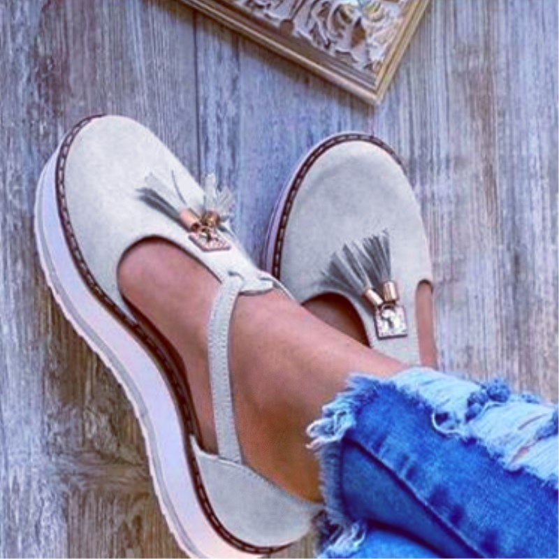 SLHJC Women Summer Sandals T Buckle Plus Size 3.5 Cm Platform Heel With Tassel Flats Female Holiday Weekends Flat Heel Shoes