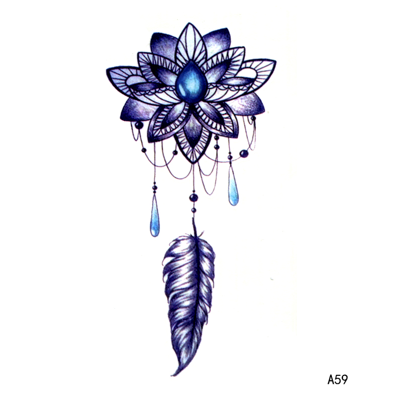 Lotus Feather Pendant Waterproof Temporary Tattoo Men Beauty Tatuagem Henna Tattoo Tatuajes  Tatoo Flash Kids Stickers