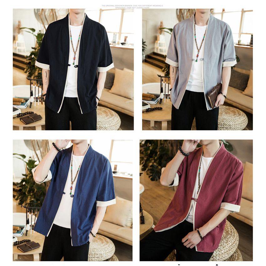 Jacket Chinese Shirt Vintage Style Tang Suit Traditional Chinese Clothing For Men Cardigan New Year Clothes Mandarin Collar