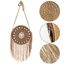 Summer Round Handmade Straw Woven Bag Shoulder Bag Leisure Travel Bag Retro Fringed Casual Women Beach Small Crossbody Bag leisure straw and sequins design shoulder bag for women