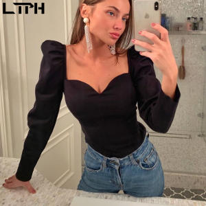 Slim Blouse Puff-Sleeve Women Shirts Square V-Neck Vintage Sexy Autumn Small Solid Special-Offer