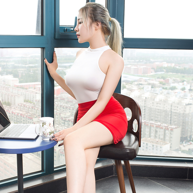 Sexy secretary costume Smooth high transparent polychromatic collocation suit tight short dress Temptation women erotic clothing 5
