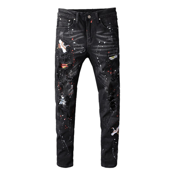 Sokotoo Men's black bird embroidered painted ripped jeans Streetwear holes patchwork stretch denim pants Skinny pencil  trousers 1