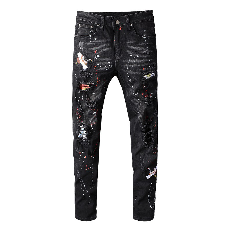 Sokotoo Men's Black Bird Embroidered Painted Ripped Jeans Streetwear Holes Patchwork Stretch Denim Pants