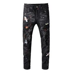 Sokotoo männer schwarz vogel bestickt gemalt gerippt jeans Streetwear löcher patchwork stretch denim hosen Dünne bleistift hosen
