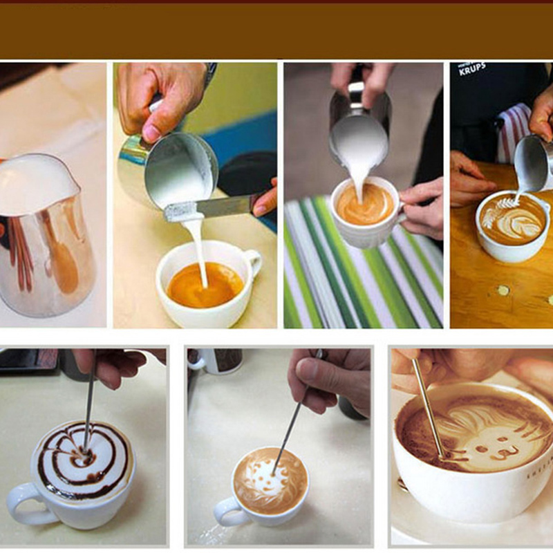 350/550/900ml Coffee Milk Jug Graining Stainless Steel Frothing Pitcher Pull Flower Cup Espresso Frothers Mug Coffee  #25