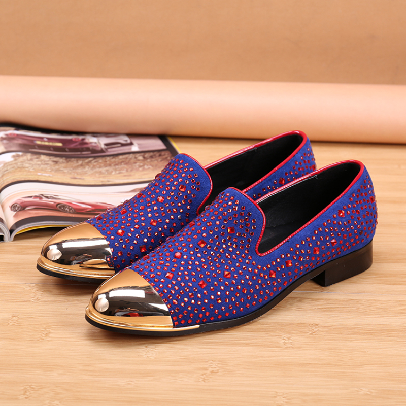 Christia Bella Personalized Big Size Male Violet Rhinestone Suede Leather Loafers Shoes Men Pointed Toe Nightclub Flats Shoes