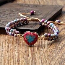 Classic Heart Shape Charm Bracelets String Braided Macrame Adjustable Bracelet Girl Friendship Wrap Bangles Femme Women Jewelry
