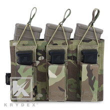 KRYDEX Tactical Triple Open Top 5.56&Pistol Magazine Pouch Multicam MOLLE/PALS Holster Mag Carrier For Shooting Airsoft Military