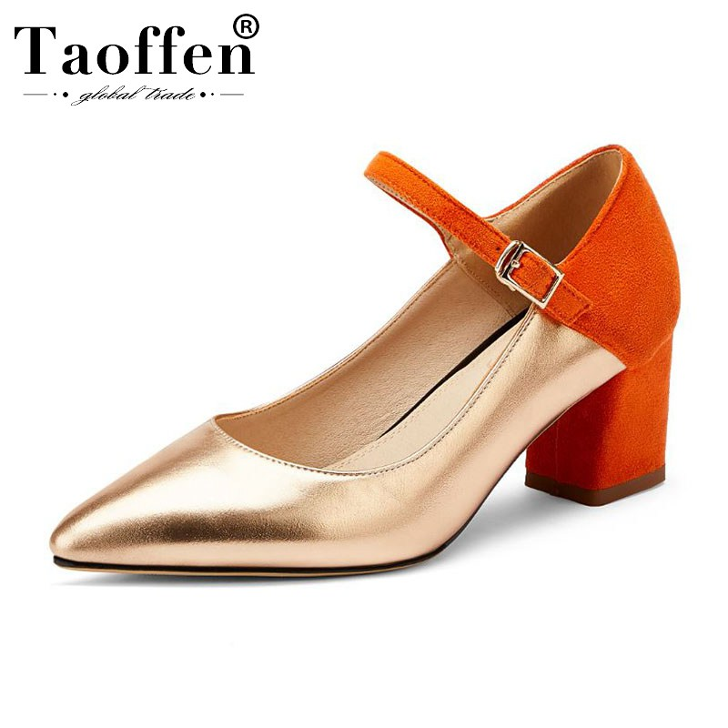 Taoffen 2020 Size 33-48 Spring Party Pumps High Quality Pointed Toe Fashion High Heel Shoes Women Buckle Daily Shallow Pumps