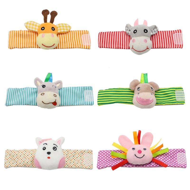 Soft Animal Infant Baby Rattles Toys Children Infant Baby Plush Wrist Rattles Baby Toy Hand Wrist Strap Rattle Developmental Toy
