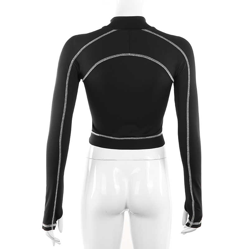 Sweetown 2019 Musim Gugur Kasual Hitam Crop Top T Shirt Wanita Kebugaran Activewear Zipper Turtleneck Lengan Panjang Bergaris Dasar Tshirt
