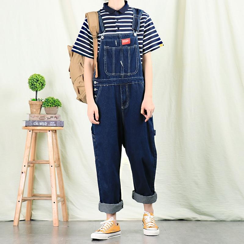 Jeans Men New Retro Straight Denim Overalls Men's Overalls Korean Denim Suspenders