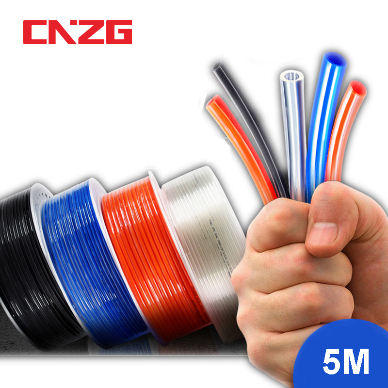 5 meters Pneumatic Tube Air Tubing Component Pneumatic Hose 4mm 6mm 8mm 10mm 12mm PU Pipe Air Line For Compressor 8x5mm 6x4 12x8