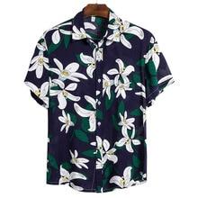 Dihope 2021 Лето Мужчины Рубашка Пляж Стиль Зеленый Листья Набивной Гавайский Рубашки Повседневный Короткий Рукав Поворот Вниз Воротник Блузки Топы
