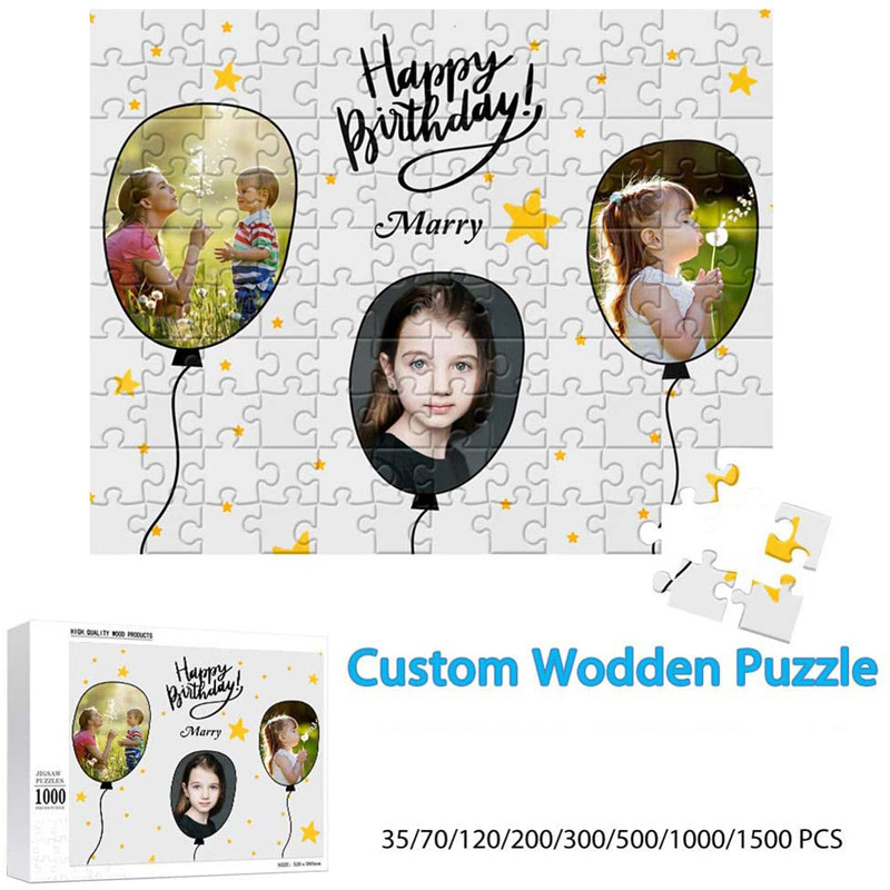 200/300/500/1000/ Pieces Wooden Photo Custom Jigsaw Puzzle DIY Personalized Gifts Puzzles For Kids Adult 2