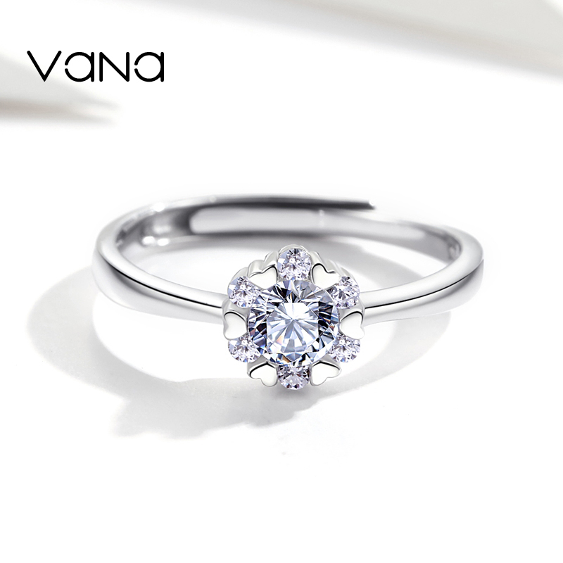 VANA Snowflake Ring for Women 925 Sterling Silver Rings for Women Engagement Cubic Zirconia Rings Adjustable