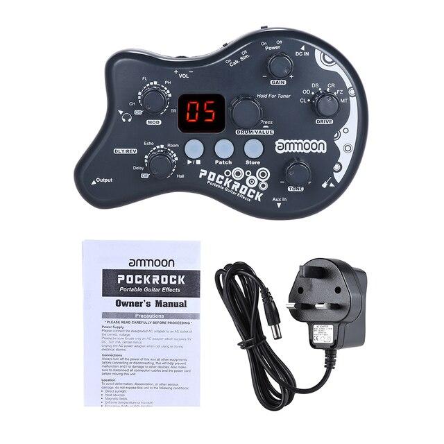Ammoon PockRock נייד גיטרה Multi אפקטים אפקט דוושת 15 סוגי השפעה 40 תוף מקצבים כוונון פונקציה