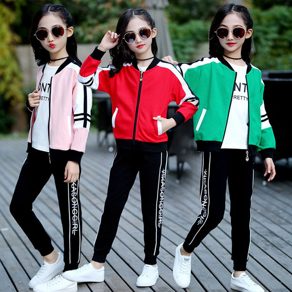 3 pcs Children Clothing Sets Cotton Autumn Sports Suits For <font><b>5</b></font> 6 7 8 9 10 11 12 Years Girls Sportswear Casual Teenager Tracksuits image