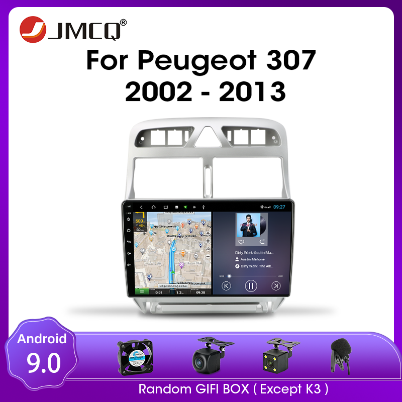 JMCQ Android 9.0 Car <font><b>Radio</b></font> <font><b>For</b></font> <font><b>Peugeot</b></font> <font><b>307</b></font> 2002-2013 Multimidia Video <font><b>2din</b></font> T9 RDS DSP 4+64G GPS Navigaion SplitScreen with Frame image
