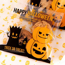 100pcs Multistyle Halloween Cookie Candy Bread Packaging Bags Self-adhesive Plastic Bags Biscuits Snack Baking Package 10X10+3cm 100pcs opp transparent flat mouth stand up bag snack bread baking packaging plastic gift candy packaging bags