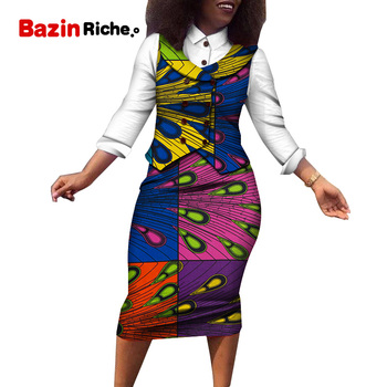 Women African Clothing Suit Skirts and Shirt Sets Bazin Riche Dashiki African Print 3 Pieces Shirt,Vest and Skirt Sets WY5094
