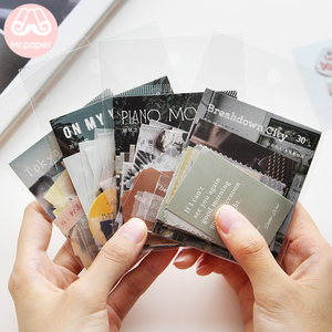 Mr.paper 30pcs/lot Instagram Style Butter Paper Kraft Card Journaling Bullet Scrapbooking Material Paper Fresh Words LOMO Cards