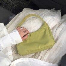 Fashion Womens Bags Simple Solid Color Nylon Baguette Bag Shoulder for Women High Quality Wild Designer Ladies Handbag Sac