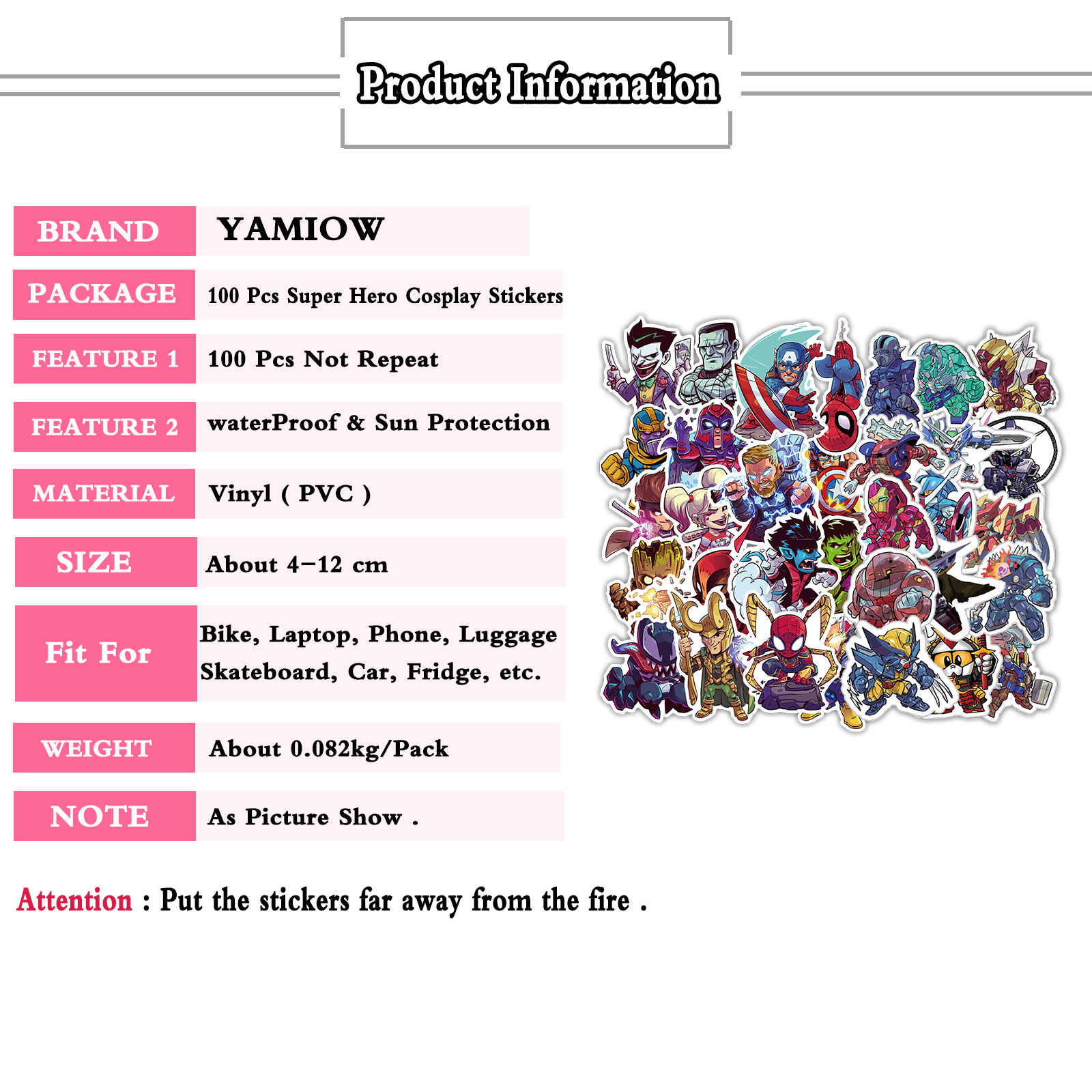 Купить с кэшбэком 100 Pcs/Lot Cute Super Hero Cosplay Stickers for MARVEL JDM Sticker for Motorcycle Guitar Suitcase Skateboard Decals DIY Toy