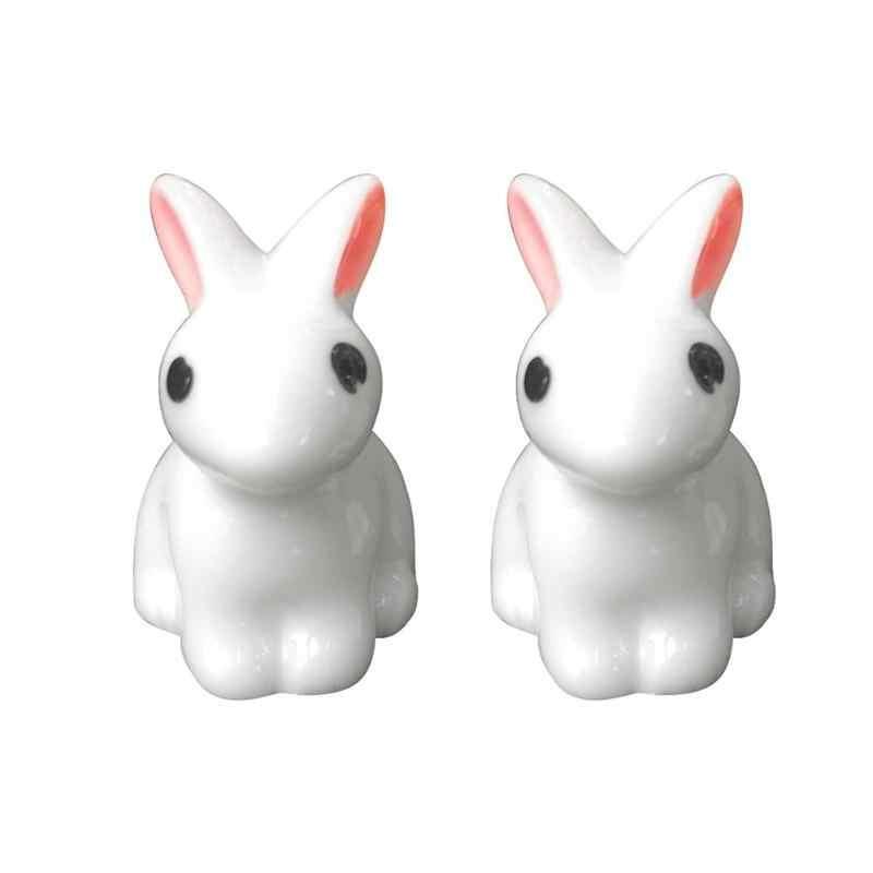 미니 토끼 정원 장식 귀여운 미니어처 입상 식물 냄비 요정 합성 수지 손으로 그린 미니 동물 요정 입상 모드