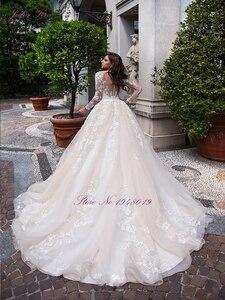 Image 2 - Julia Kui de boda de lujo de color champán, vestido de novia de línea A con escote redondo de capilla, vestido de novia de manga larga