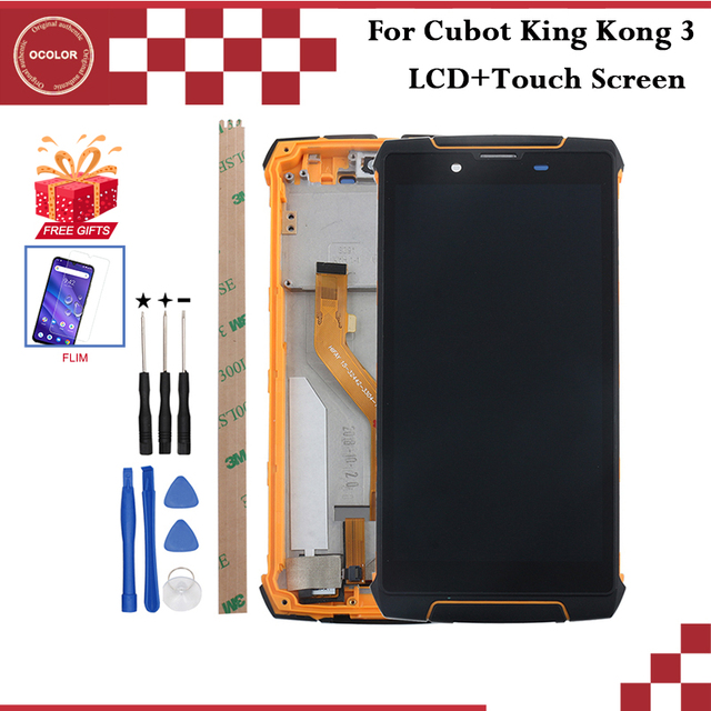 """ocolor For Cubot King Kong 3 LCD Display and Touch Screen With Frame 5.5"""" For Cubot King Kong 3 Phone Accessories +Tools+Film"""